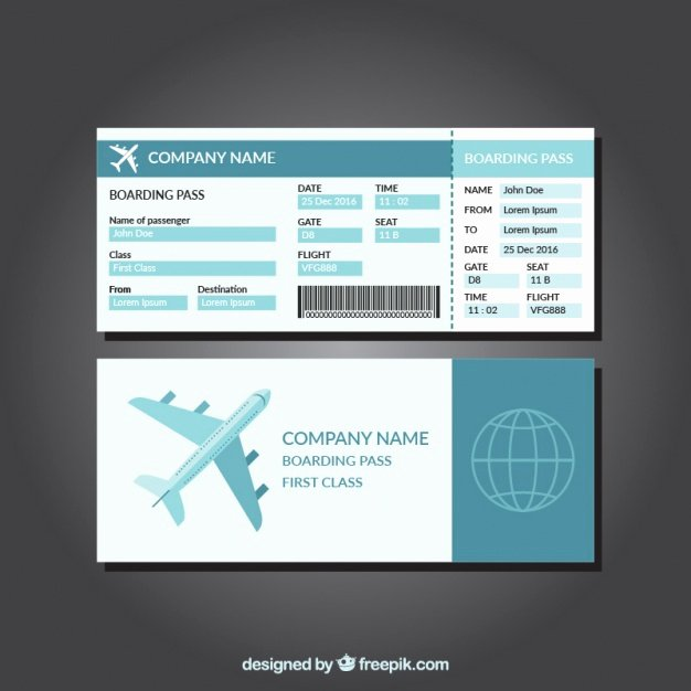 Boarding Pass Template Free Best Of Great Template Of Blue Boarding Pass Vector