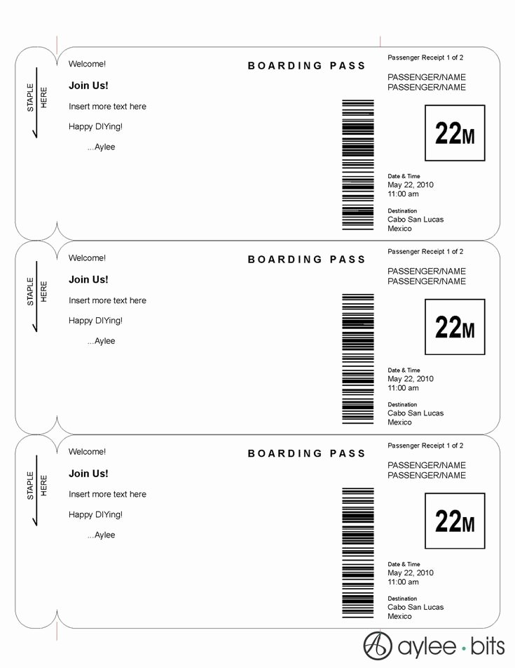Boarding Pass Template Free Elegant Boarding Pass Invitation Template by Ayleebits