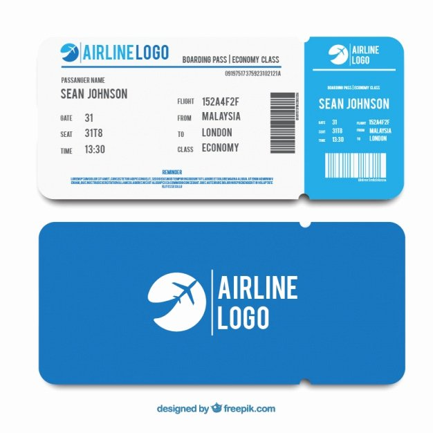 Boarding Pass Template Free Elegant Flat Template Of Blue Boarding Pass Vector