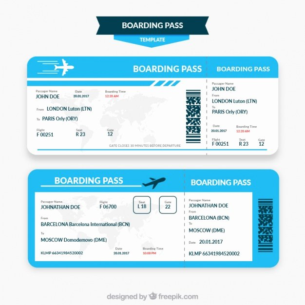 Boarding Pass Template Free Lovely Blue and White Boarding Pass Template Vector