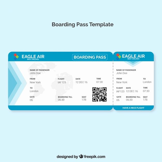 Boarding Pass Template Free New Boarding Pass Template with Blue Details Vector