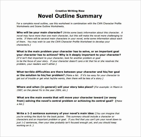 Book Analysis format Sample Fresh Novel Outline Summary