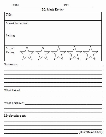 Book Review Template Middle School Best Of 14 Awesome Movie Review Template Worksheet Images
