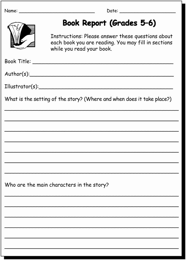 Book Review Template Middle School Luxury Book Report 5 & 6 Writing Practice Worksheet for 5th and