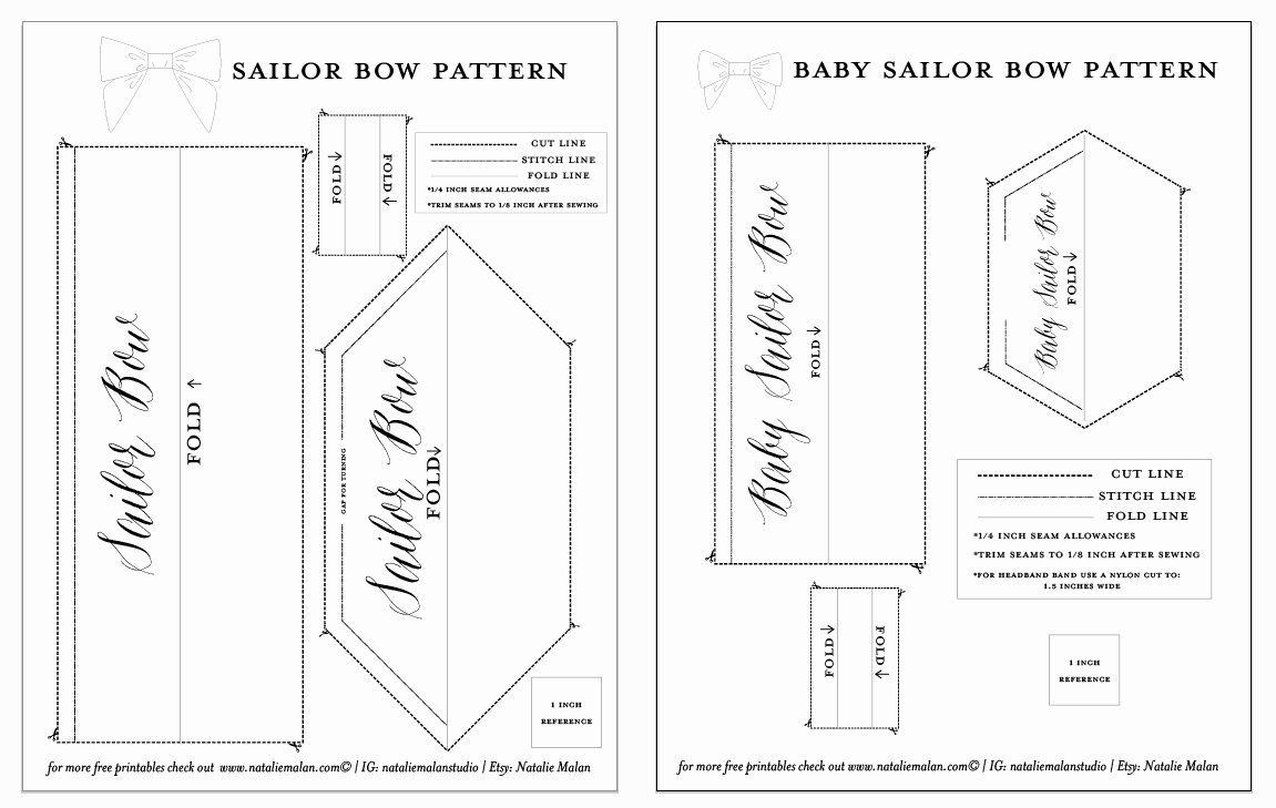 Bow Tie Patterns Fresh Diy Sailor Bow Tutorial and Free Pattern Natalie Malan