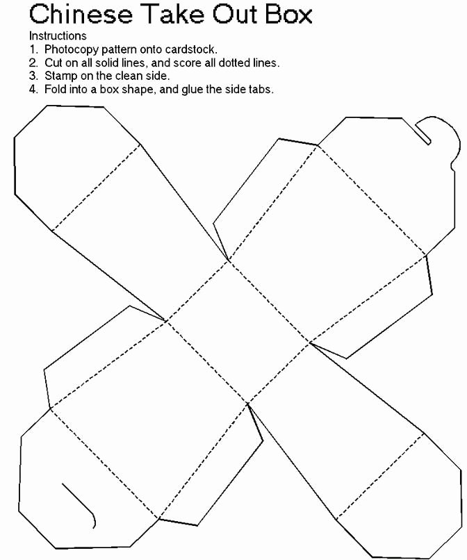 Box Cut Out Patterns Awesome Chinese Take Out Box Template