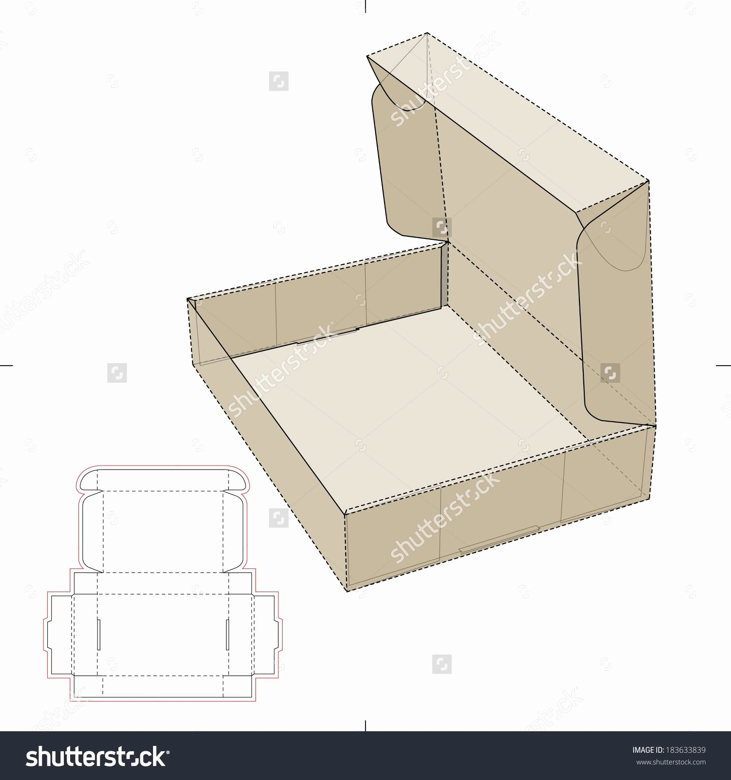Box Cut Out Patterns Elegant Cardboard Flat Box with Die Cut Pattern Stock Vector