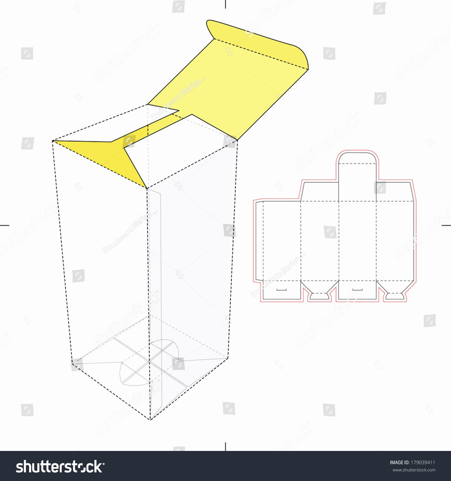 Box Cut Out Patterns Inspirational Vertical Tall Box Diecut Pattern Stock Vector