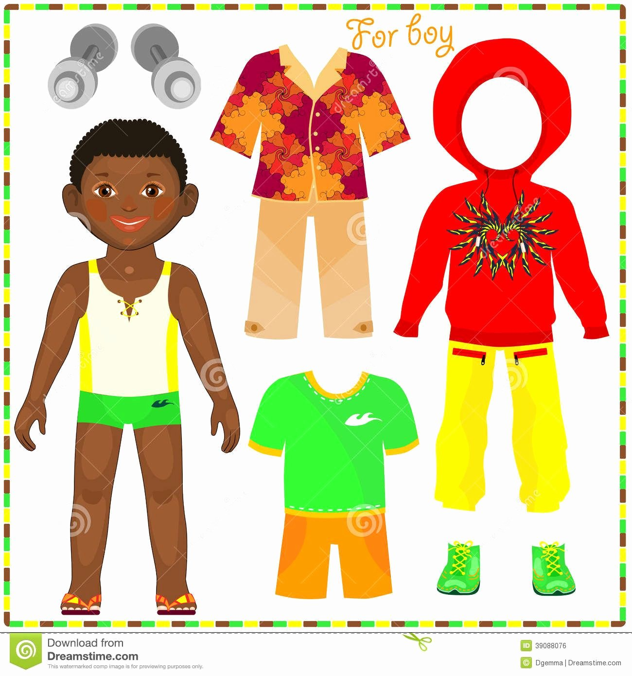 Boy and Girl Template Awesome Boy Paper Doll Template Black African American