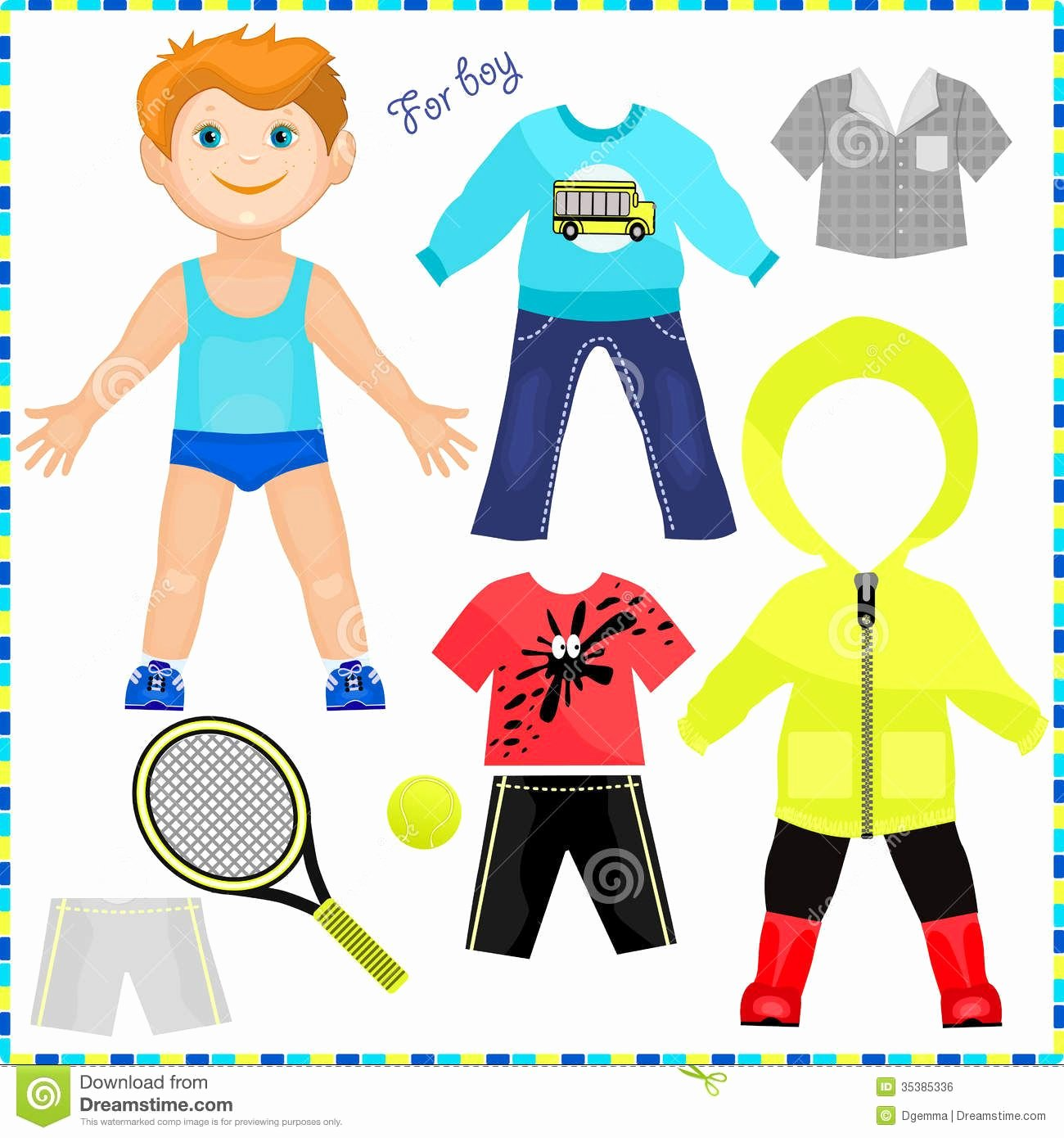 Boy and Girl Template Elegant Paper Doll with A Set Of Clothes Description From