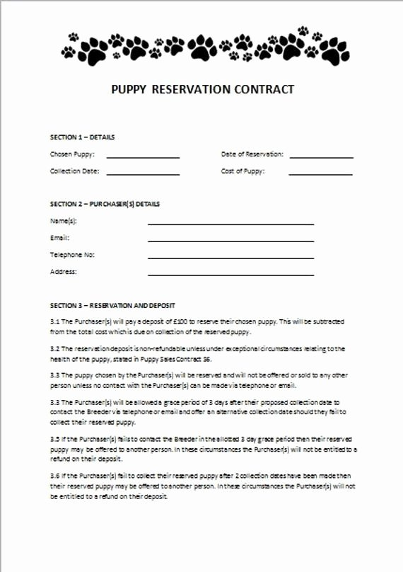 Breeding Contracts for Puppies Best Of Items Similar to Puppy Reservation Contract On Etsy