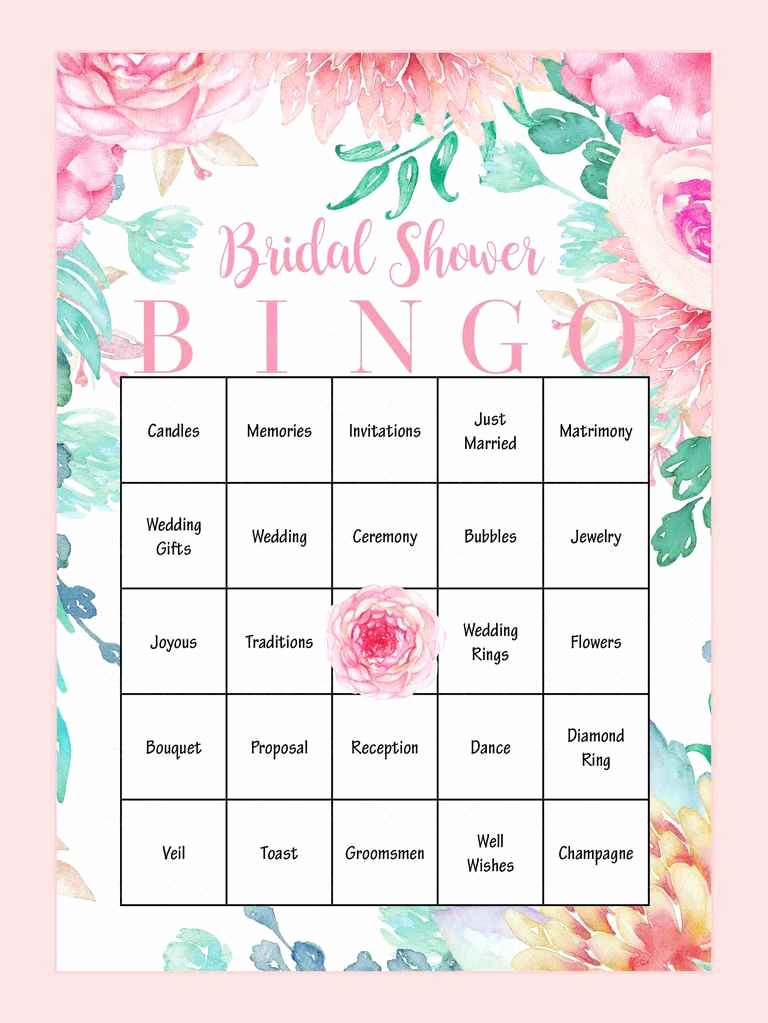 Bridal Shower Bingo Template Free Awesome 10 Printable Bridal Shower Games to Diy