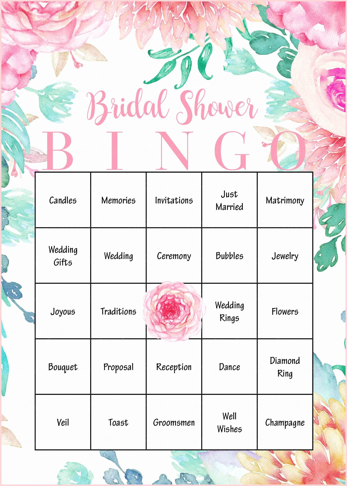 Bridal Shower Bingo Template Free Awesome Floral Bridal Bingo Cards Printable Download Prefilled