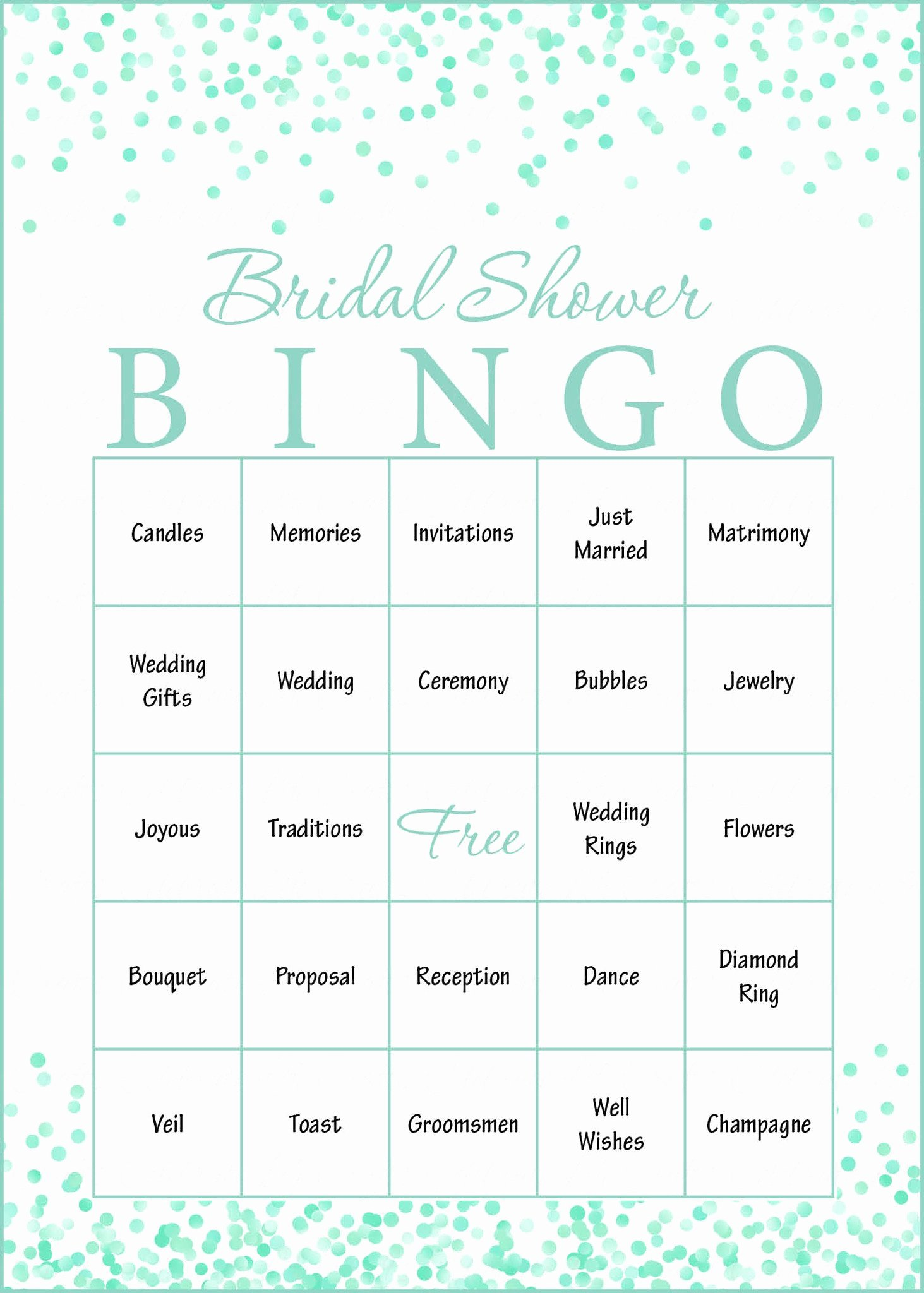 Bridal Shower Bingo Template Free Awesome Mint Confetti Bridal Shower Game Download for Wedding