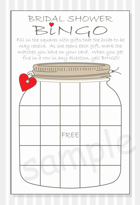 Bridal Shower Bingo Template Free Beautiful Bridal Shower Bingo Printable Cards Gift Bingo Rustic