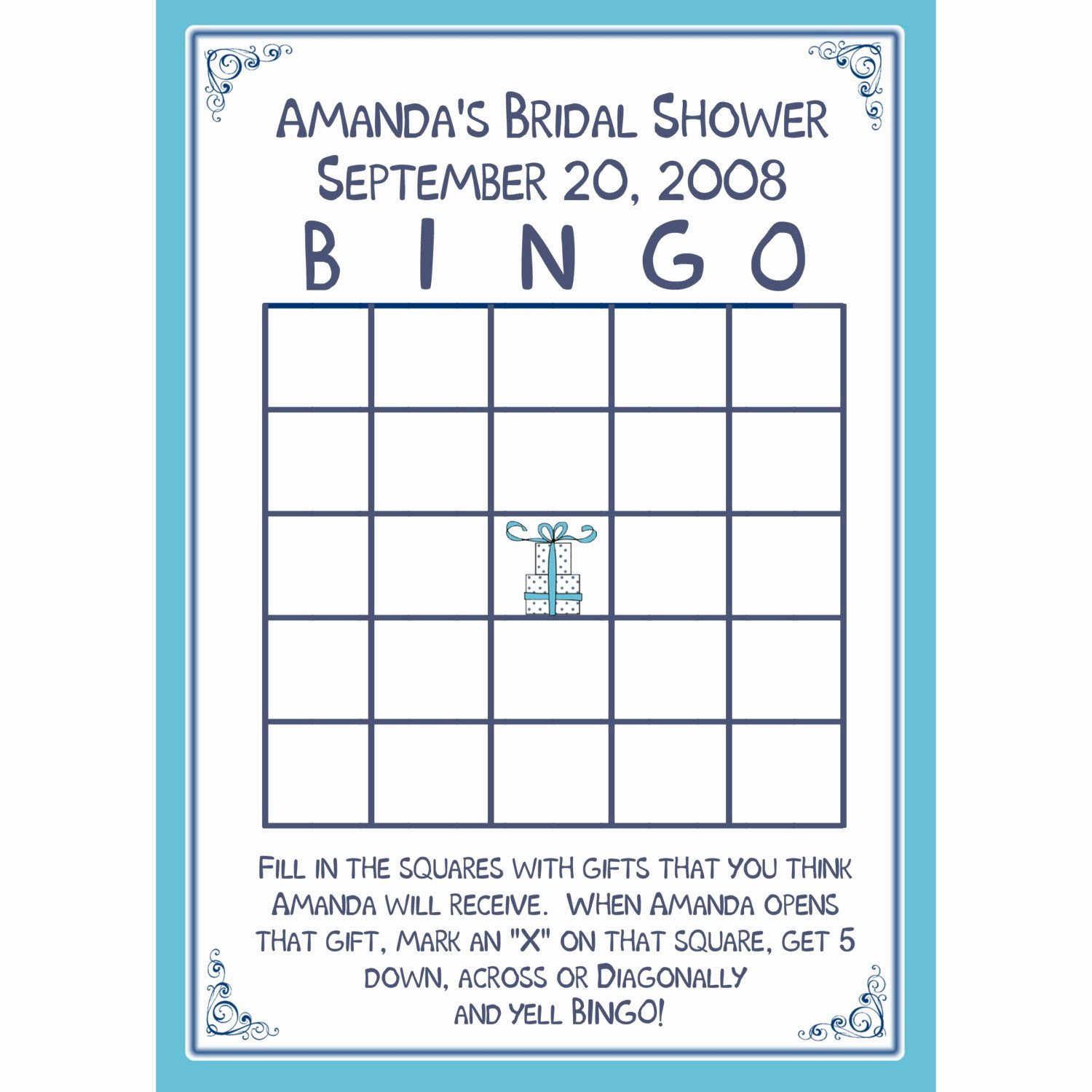 Bridal Shower Bingo Template Free Elegant 24 Bridal Shower Bingo Card Game Personalized
