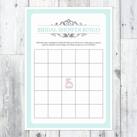 Bridal Shower Bingo Template Free Elegant Items Similar to Bridal Shower Bingo Printable Card On Etsy