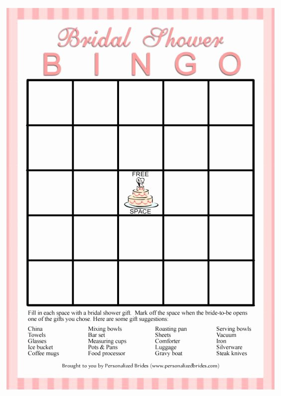 Bridal Shower Bingo Template Free Inspirational 11 Free Printable Bridal Showers Bingo Cards