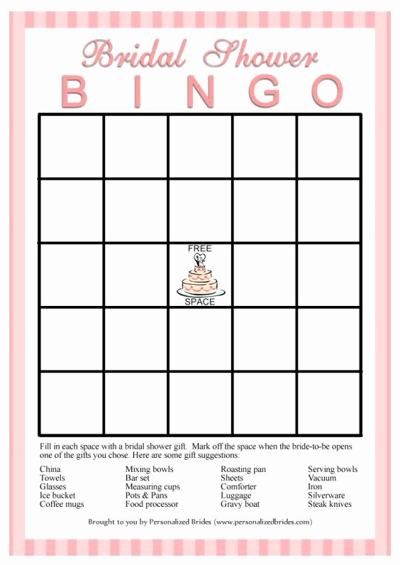 Bridal Shower Bingo Template Free Inspirational 11 Free Printable Bridal Showers Bingo Cards Pertaining