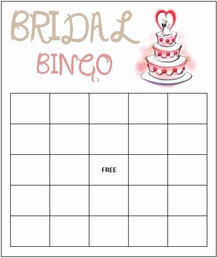 Bridal Shower Bingo Template Free Lovely Bridal Bingo Template
