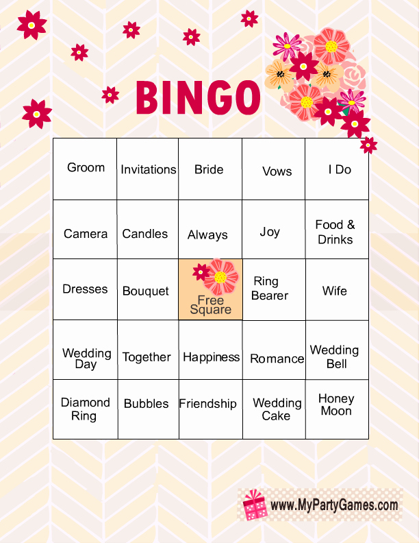 Bridal Shower Bingo Template Free Lovely Free Printable Bridal Shower Bingo Game Cards