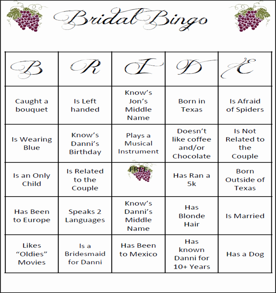 Bridal Shower Bingo Template Free Unique Wedding Guest Bingo Template Google Search
