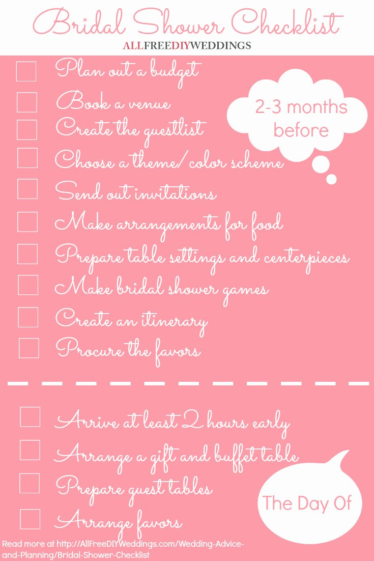 Bridal Shower Checklist Printable Beautiful Bridal Shower Checklist