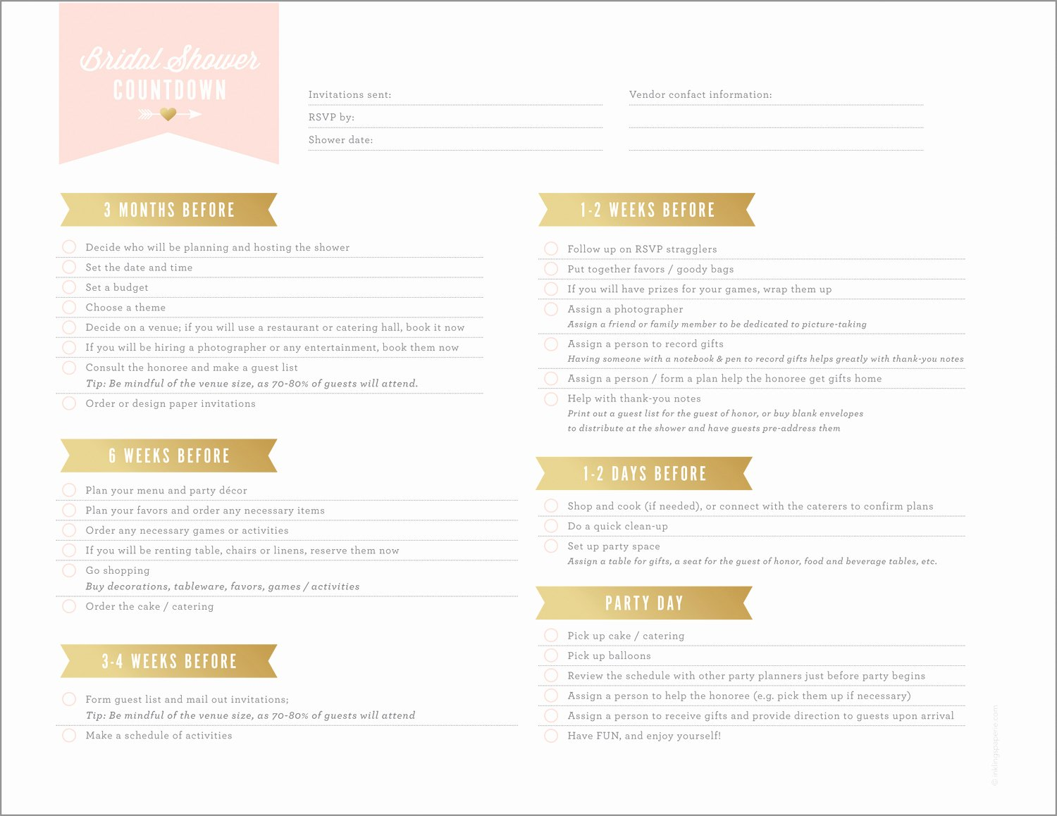 Bridal Shower Checklist Printable Luxury Free Printables for Bridal Shower Planning