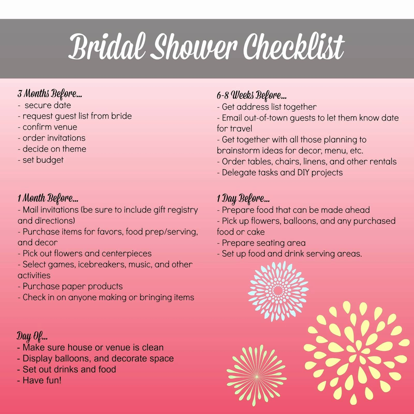 Bridal Shower Checklist Printable New Planning A Bridal Shower at Home