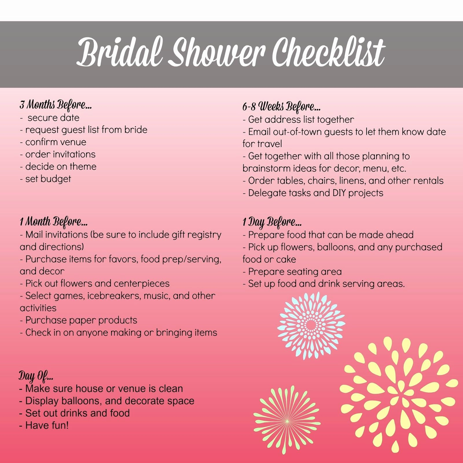 Bridal Shower Checklist Printable Unique Bridal Shower Planning Checklist