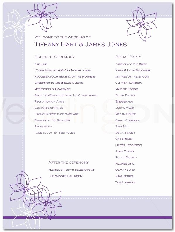Bridal Shower Program Sample Awesome Wedding Reception Program Outline Agenda