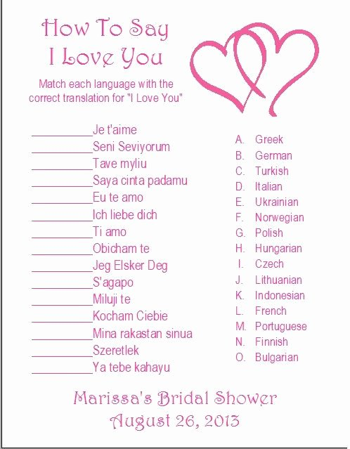 Bridal Shower Program Sample Best Of 24 Personalized How to Say I Love You Bridal Shower Game
