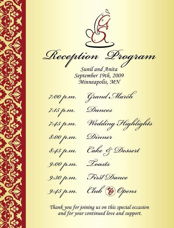 Bridal Shower Program Sample Inspirational Wedding Reception Program Sample