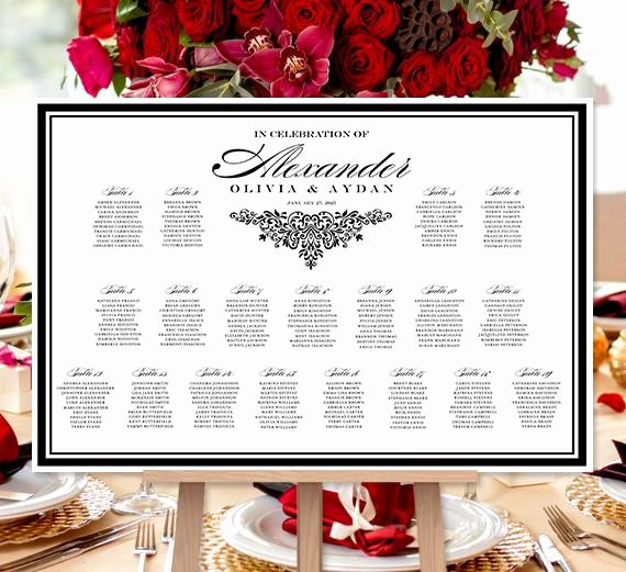 Bridal Shower Seating Chart Beautiful Wedding Seating Chart Poster Anna Maria Black White Print