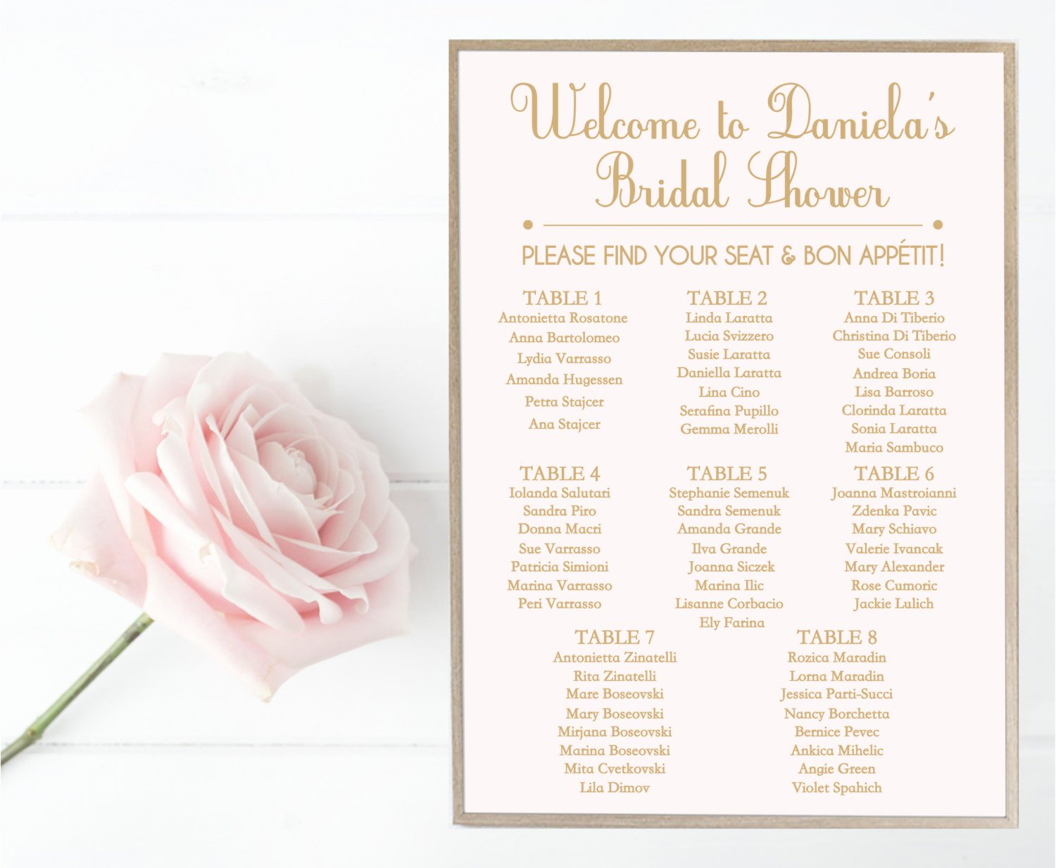 Bridal Shower Seating Chart Best Of Bridal Shower Seating Chart Guest List Sign Wedding Blush