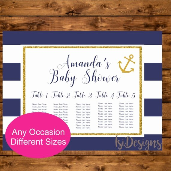 Bridal Shower Seating Chart Best Of Nautical Seating Chart Printable Navy and Gold Nautical
