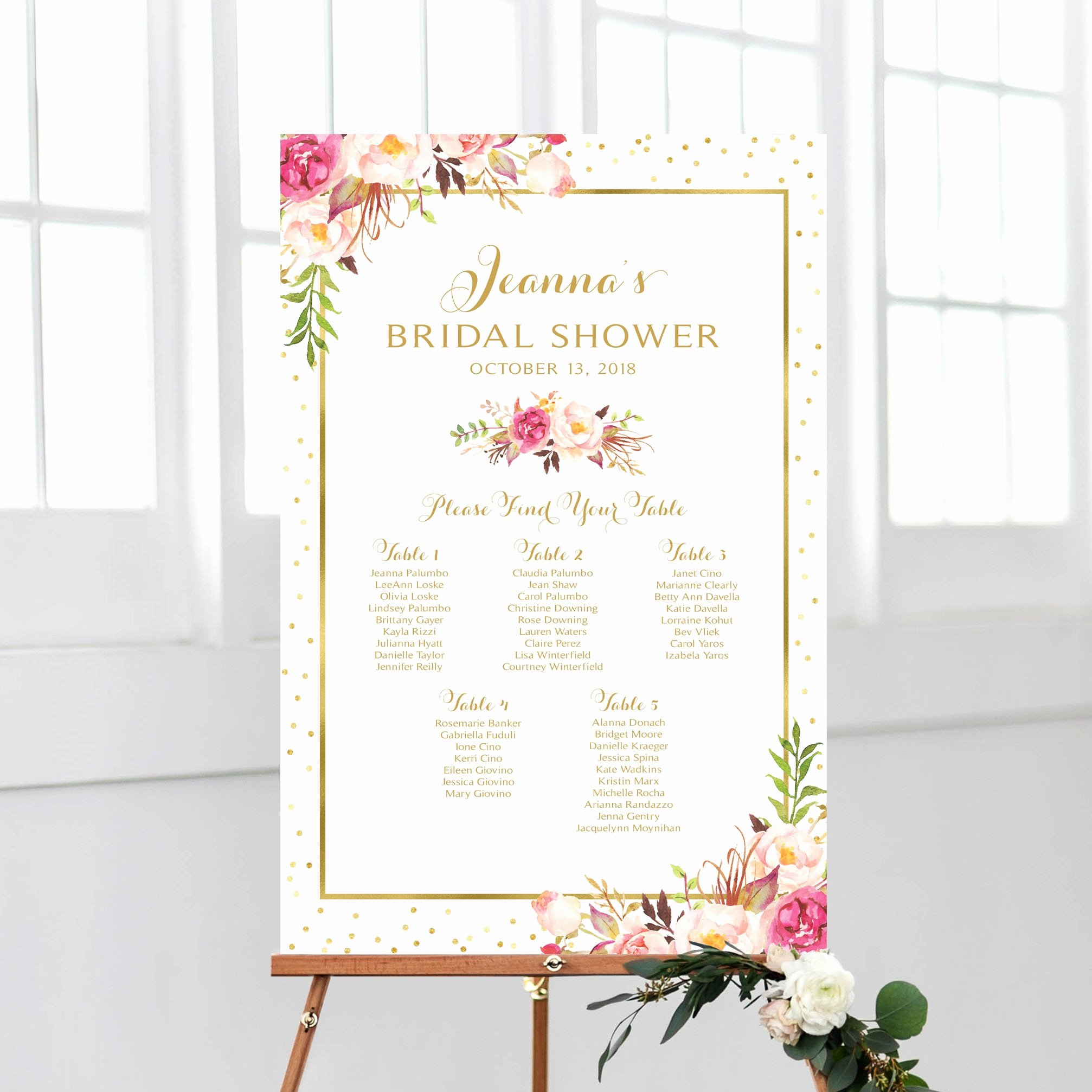 Bridal Shower Seating Chart Fresh Bridal Shower Seating Chart by Table Seating Plan