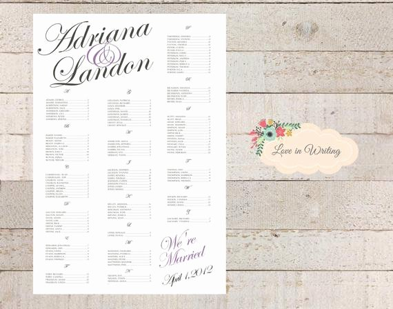 Bridal Shower Seating Chart Luxury Items Similar to Wedding Anniversary Rehersal Dinner