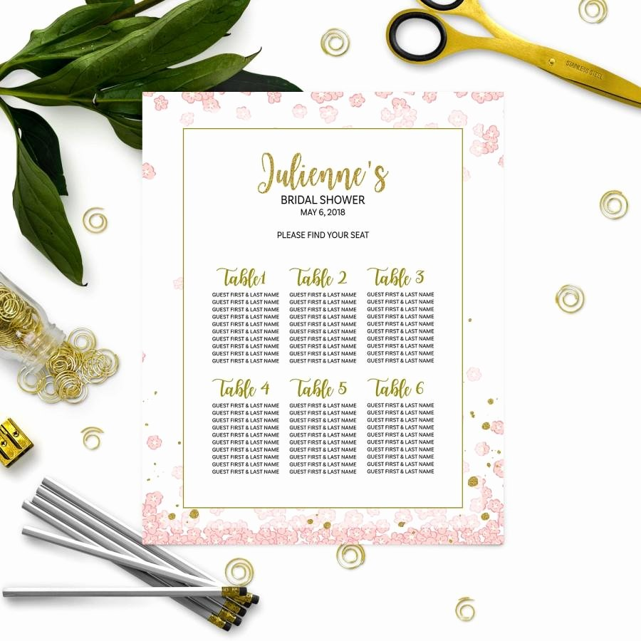 Bridal Shower Seating Chart Luxury Pink and Gold Bridal Shower Seating Chart Personalized