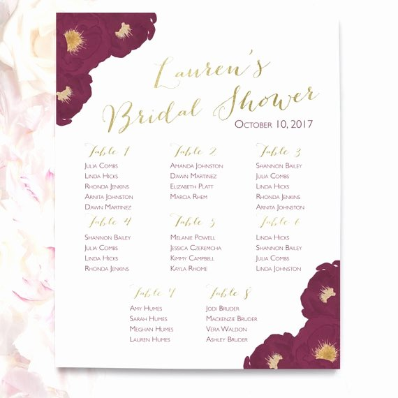 Bridal Shower Seating Chart Luxury Seating Chart Bridal Shower