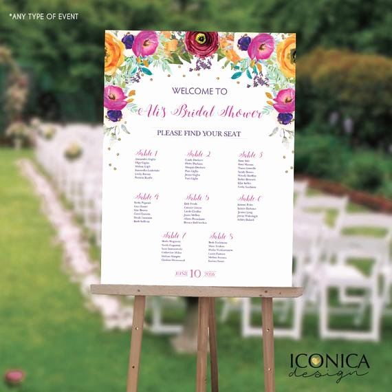 Bridal Shower Seating Chart Unique Seating Chart Board Floral Bridal Shower Guest List Chart