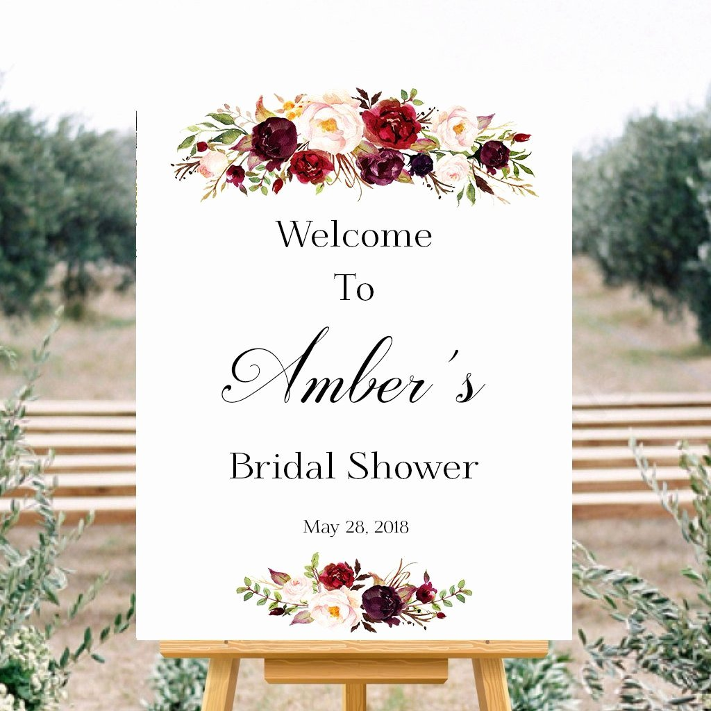 Bridal Shower Signs Printable Best Of Wel E Bridal Shower Marsala Floral White Sign Printable