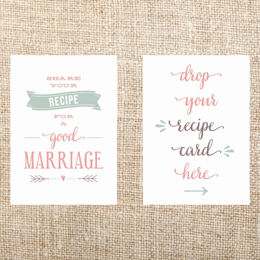 Bridal Shower Signs Printable Elegant Printable Recipe Card Signs for Bridal Shower by Hollisita