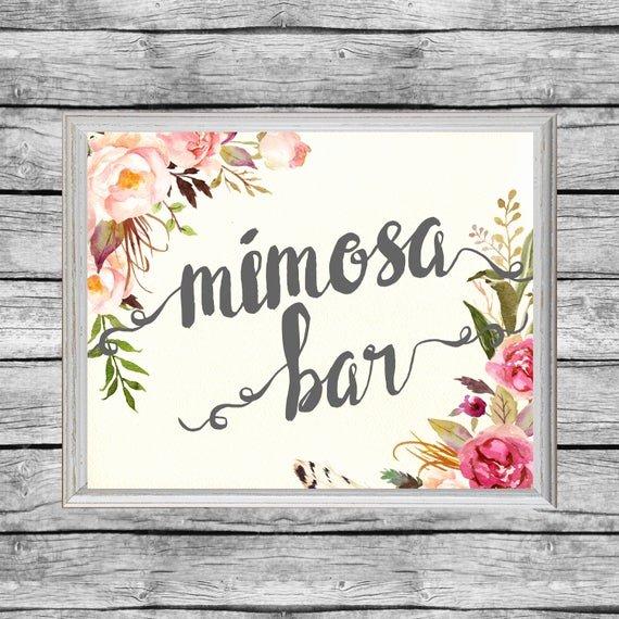 Bridal Shower Signs Printable Fresh Mimosa Bar Sign Mimosa Bar Printable Bridal Shower Floral