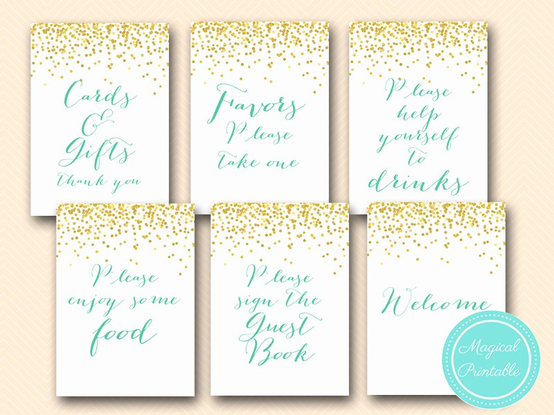 Bridal Shower Signs Printable New Gold Mint Bridal Shower Games and Signs Magical Printable