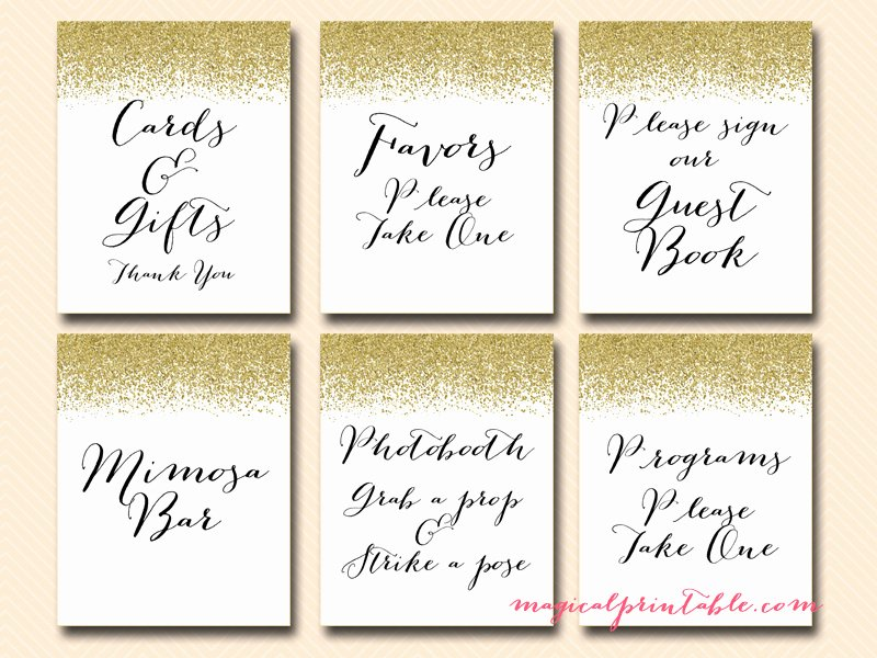 Bridal Shower Signs Printable Unique Printable Gold Glitter Wedding Signage Bridal Baby Shower