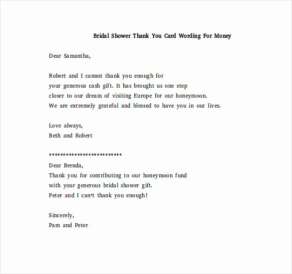 Bridal Shower Thank You Examples Awesome 8 Bridal Shower Thank You Notes – Free Sample Example