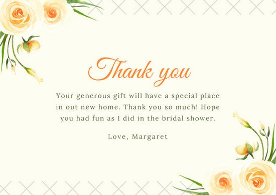 Bridal Shower Thank You Examples Beautiful Customize 170 Bridal Shower Thank You Card Templates