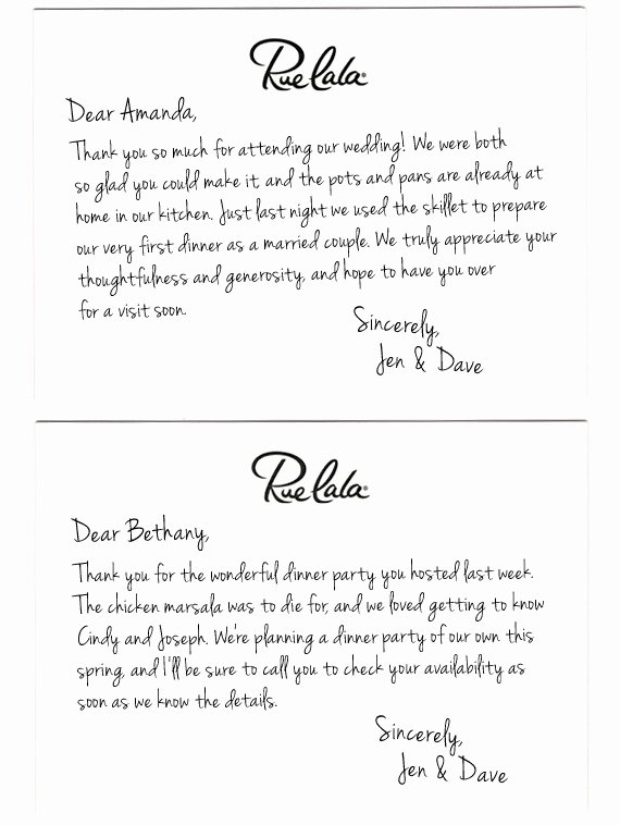 Bridal Shower Thank You Examples Fresh Wedding Thank You Note Template 2018