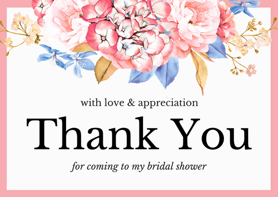 Bridal Shower Thank You Examples Inspirational Bridal Shower Thank You Card Wording